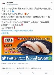 すし銚子丸のTwitterキャンペーンクーポン